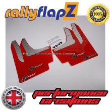 Civic Sport (2001-2007) RED MUDFLAPS (Sport Logo Black & Silver)
